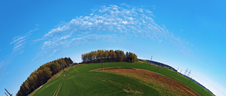 fisheye: Summer landscape with blue sky, green field and forest on the horizon. Fish-eye effect.