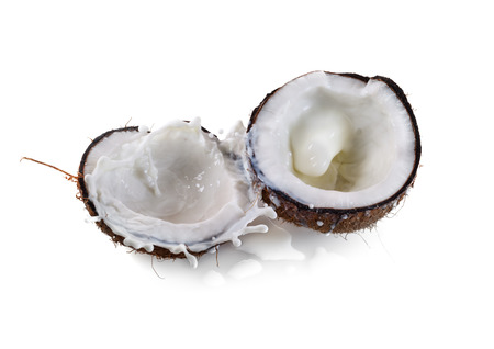 Kokos z mleka powitalny samodzielnie na białym tle Zdjęcie Seryjne