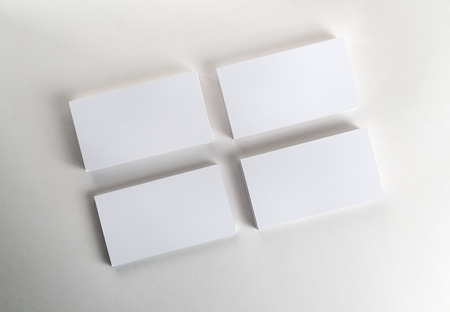 Blank business cards on the table. Template for ID. Top view.