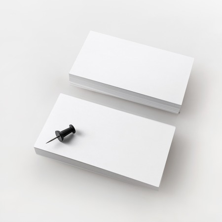 Blank business cards. Template for branding identity. Isolated with clipping path. Standard-Bild