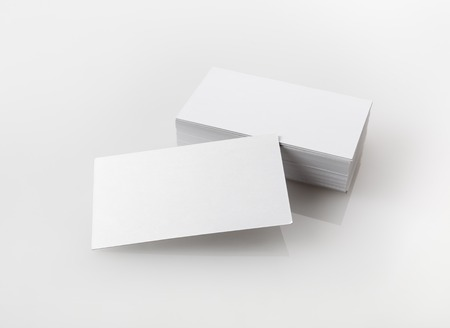 Photo of blank business cards. Template for branding identity for designers. Standard-Bild