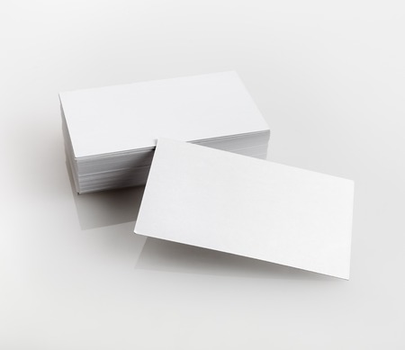 Blank business cards on a light gray background. Template for branding identity for designers portfolios. Standard-Bild