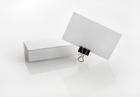 for designers: Photo of blank business cards. Template for branding identity for designers. Stock Photo
