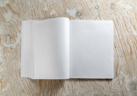 Blanco geopend boek op lichte houten achtergrond met zachte schaduwen. Sjabloon voor het ontwerp presentaties en portefeuilles. Bovenaanzicht. Stockfoto