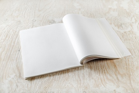 Photo of blank open book on light wooden background with soft shadows. Template for design presentations and portfolios.