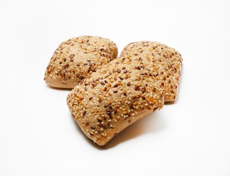 wheat: Fresh whole grain bread with sesame. Selective focus. Stock Photo