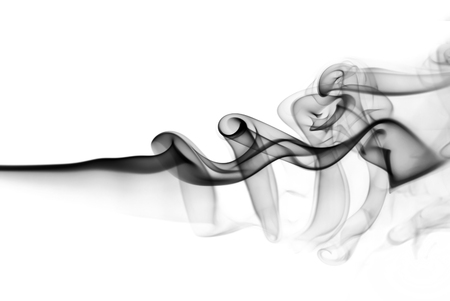 black smoke: Black smoke swirls over white background