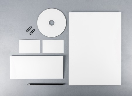 stationery: Blank stationery template for branding identity for designers. Top view.