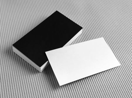 Set of blank business cards on gray background. Template for branding identity. For design presentations and portfolios. Standard-Bild