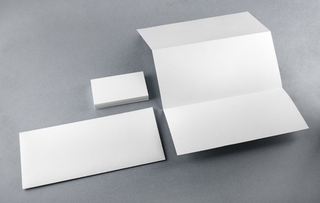identity card: Blank corporate identity set on a table. Mockup for design presentations and portfolios. Stock Photo