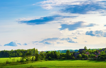 farmhouses: Rural landscape. The sky with clouds, grass field, trees and farmhouses.