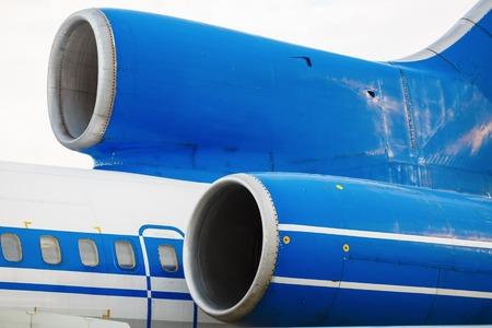 turbojet: Close-up of a passenger aircraft turbine. Turbines of passenger airliner. The tail of the aircraft.