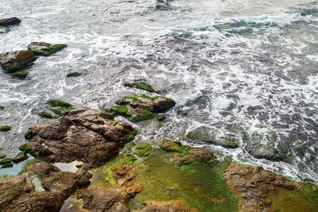 large rocks: Close-up of sea surf. Shore with sea water and large rocks covered with algae. Rocky coastline with sea water and boulders. Stock Photo