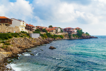 Coastline in the old town of Sozopol at Black Sea, Bulgaria. Old Town with fortress wall. Architectural and Historic Complex.