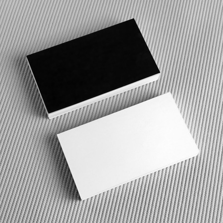 Photo of blank black and white business cards on gray background photo of blank black and white business cards on gray background blank template for design reheart Gallery