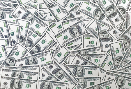 fake money: Background from a variety of one hundred dollar bills. Many dollars. Money background. Fake money. Stock Photo