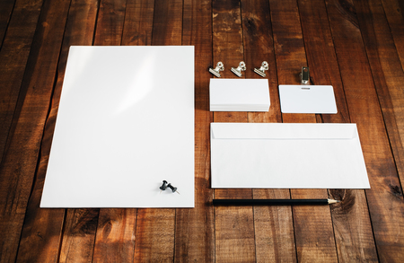 for designers: Photo of blank stationery set. Blank stationery template for branding identity for designers. Letterhead, business cards, badge, envelope and pencil.