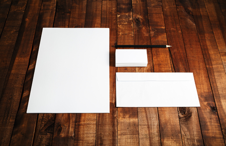 for designers: Blank stationery set on wooden table background. ID template. Mockup for branding identity for designers.