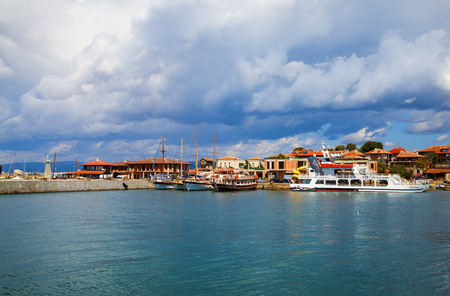 NESEBAR, BULGARIA, SEPTEMBER 06, 2013: Pleasure boats and yachts in the harbor of the old town of Nessebar on the bulgarian Black Sea boast. Sunny summer day.