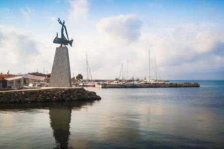 Nesebar, Bulgaria - September 05, 2014: Monument of Saint Nicholas the patron saint of the navigators in old town Nessebar on the Bulgarian Black Sea Coast.
