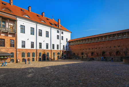 Mir, Belarus - August 11, 2016: Inner courtyard of Mir Castle, Belarus. Mir Castle is a museum and castle complex. Belarus. The Grodno region.