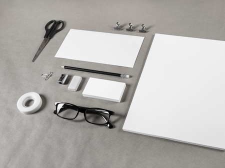 white sheet: Simple stationery set. Blank template for branding identity. Blank objects for placing your design.
