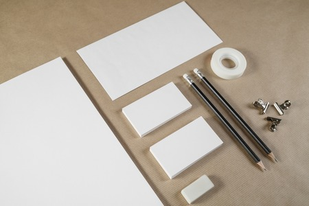 white sheet: Photo of blank corporate identity. Stationery set. Branding mockup.