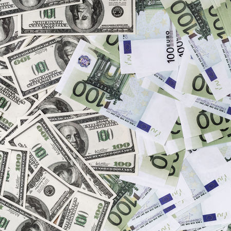 Fake dollars and euros. Background with money.Top view. Stock Photo
