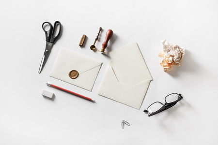 Blank stationery for creativity with envelopes on white paper background. For graphic designers presentations and portfolios.