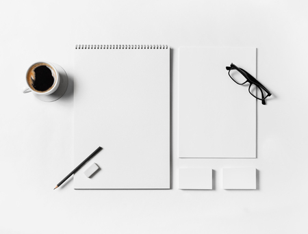 Blank branding stationery set on white paper background. Top view. Flat lay.