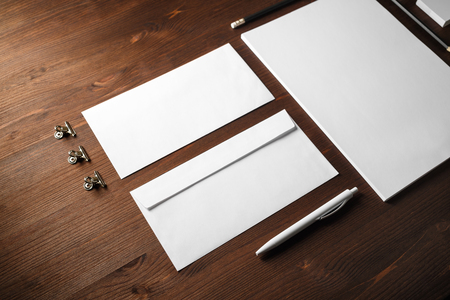 Blank stationery set on black paper background. Corporate identity mockup. Responsive design template. 版權商用圖片