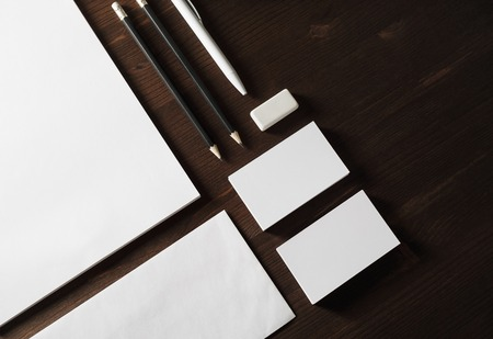 Blank stationery set on wooden background. Corporate identity template. Responsive design mockup.