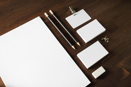 Photo of blank stationery set on white paper background. Corporate identity mockup. Responsive design template. 版權商用圖片