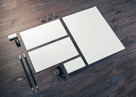 Blank stationery set on wooden background. ID template. Mockup for branding identity for designers. 版權商用圖片