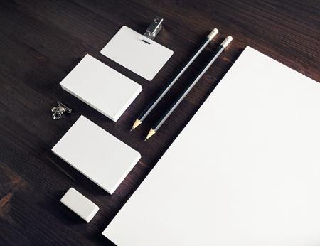 Blank stationery set on table. Template for branding identity. 版權商用圖片