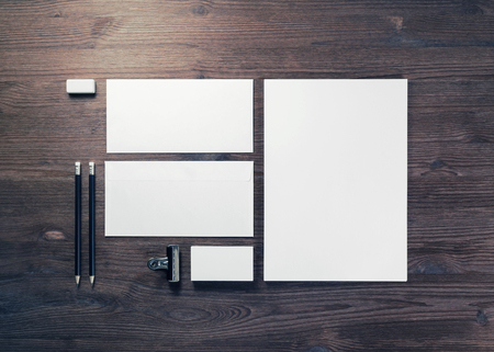 Business stationery mock-up. Blank corporate identity template on wooden background. Flat lay.
