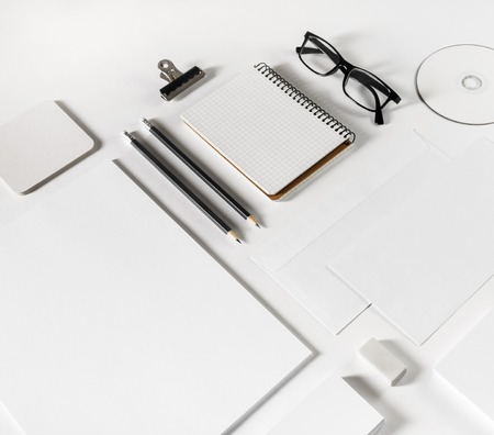 White blank stationery set on paper background. Branding mock-up.
