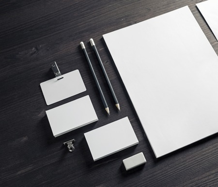 Blank stationery set on wooden background. Corporate identity template. Branding mock-up.