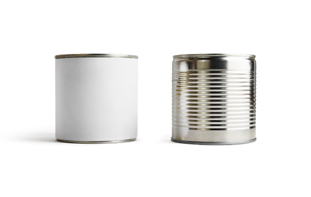 Two blank tin cans isolated on white background. Clipping path.