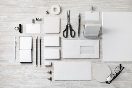 Corporate identity template. Blank stationery mock up on light wooden background. Flat lay. Imagens