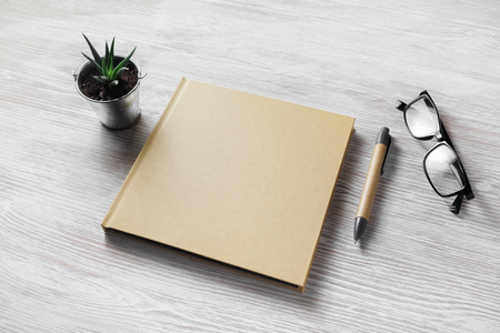 Closed blank book, glasses, pen and plant on light wooden background.