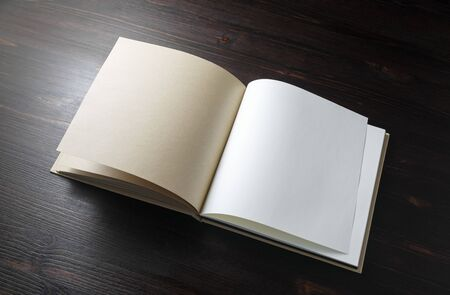 Open blank book on wood table background. Template for placing your design.
