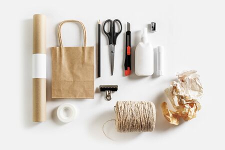 Scrapbooking craft materials and tools. Blank stationery set. Flat lay. 스톡 콘텐츠