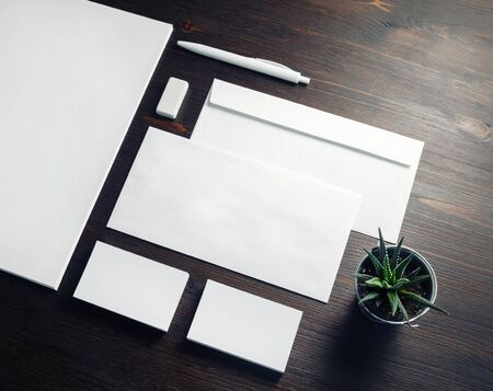 Business stationery mock-up. Blank template for branding identity on wooden background. For graphic designers portfolios.
