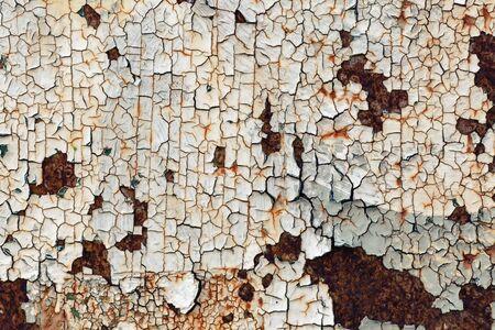Texture of old peeling paint. Vintage rusty grunge background.