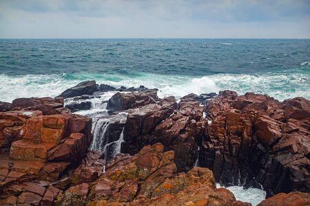 Scenic seascape. Black sea and rocky coast
