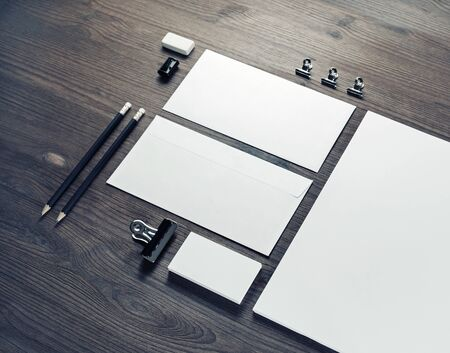 Blank stationery template on wooden background. Mockup for branding identity.