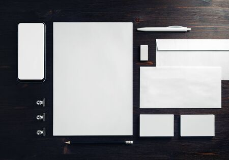 Corporate identity template. Photo of blank stationery set on wooden background. Mockup for design presentations and portfolios. Flat lay. 스톡 콘텐츠