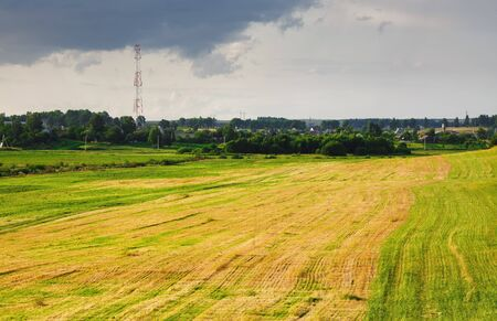 Scenic rural landscape. Field after haymaking, grass, trees and bushes, cloudy sky