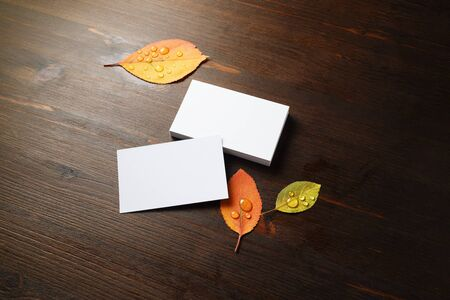 Photo of blank business cards and autumn leaves on wood table background. Template for branding ID.